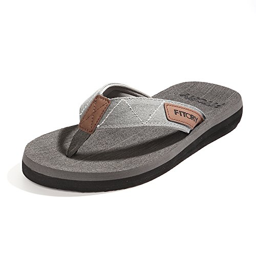 FITORY Men's Flip-Flops, Thongs Sandals Comfort Slippers for Beach Grey Size11