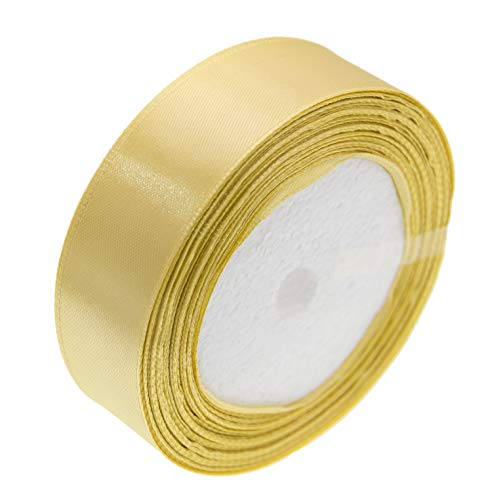ATRibbons 50 Yards 1 Inch Wide Satin Ribbon Perfect for Wedding,Handmade Bows and Gift Wrapping,25 Yards/Roll x 2 Rolls (Champagne)