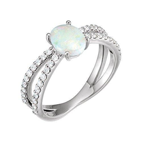 - Gemstone rings, 14K White Opal & 1/3 CTW Diamond Ring