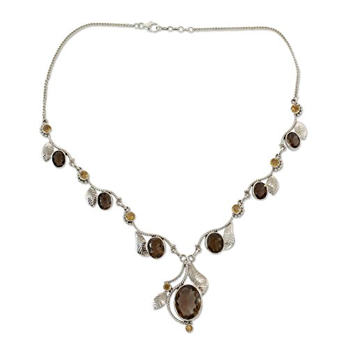 NOVICA Multi-Gem Smoky Quartz .925 Sterling Silver Y Necklace, 17.25