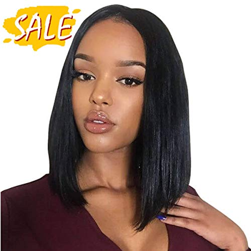 Beauty On Line Short Bob Wigs Brazilian Straight Lace Front Human Hair Wigs For Black Women Pre Pucked Natural Hairline Natural Color (8 inch, Bob Wigs)