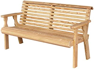 CAF Amish Heavy Duty 800 Lb Roll Back Pressure Treated Garden Bench 4 Foot, Unfinished