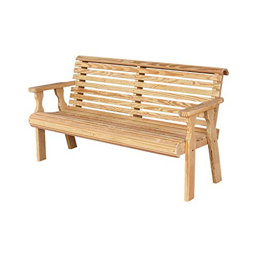 CAF Amish Heavy Duty 800 Lb Roll Back Pressure Treated Garden Bench (4 Foot, Unfinished)