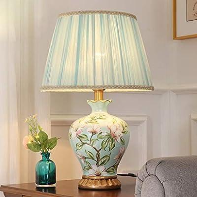 CJH European Bedroom Bedside Table Flower Ceramic Table Lamp Creative American Simple Room Warm Romantic Table Lamp