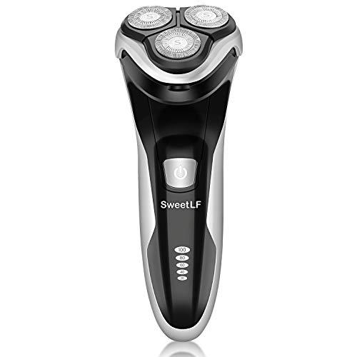 SweetLF Rasoir Electrique Hommes Rechargeable USB Wet & Dry IPX7 Etanche Avec Tondeuse Pop-up Barbe, 3D Têtes Rotatives et Ecran LCD, Noir, SW7105BK