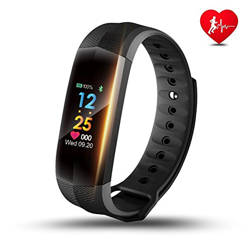 Fitness Tracker, LEMFO Heart Rate Monitor Full Color Screen IP67 Swimming Waterproof Bracelet Smart Fitness Watch Wristband Sleep Monitor Activity Tracker Smartband (Black)