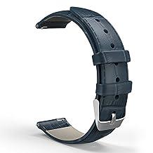 Universal 20mm Quick Release Watch Band, MoKo Premium Genuine Leather Crocodile Pattern Strap for Samsung Gear S2 Classic/Motorola Moto 360 2nd Gen Men's 42mm/Ticwatch 2nd/Huawei Watch 2, Dark BLUE