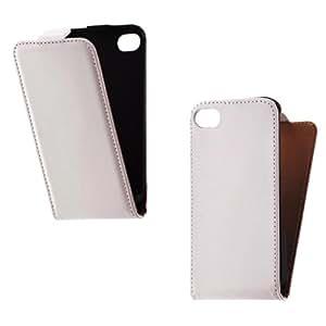 De piel sintética con tapa para iphone 4 4S blanco