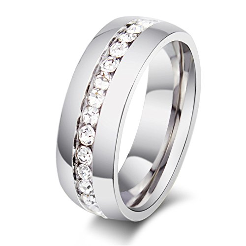 - Rongxing Jewelry Titanium Stainless Steel Men's Women's Zircon Engagement Wedding Band Ring for Couples