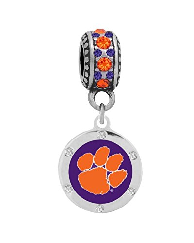 (Final Touch Gifts Clemson University Charm with Crystals Fits European Style Large Hole Bead Bracelets )