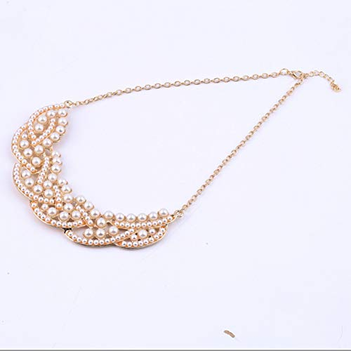 Price comparison product image Simulated-Pearl Golden Choker Necklace,  1Pc Hot Design Hollowed Golden Fashion Simulated-Pearl Choker Bib Pendant Collar Necklace Elegant Ladies Jewelry