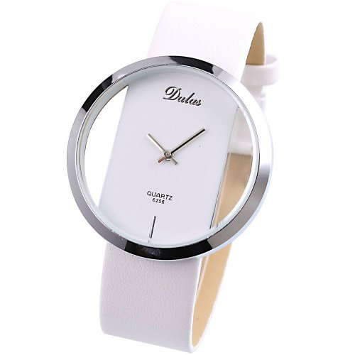 Dalas White Leather Transparent Dial Fashion Lady Girl Wrist Quartz Watch Gift WAA025