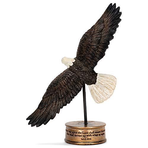 Soaring Isaiah 40:31 Wings as Eagles 7 inch Resin Stone Table Top Figurine