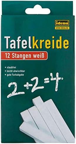Idena 621721 - Tafelkreide in Faltschachtel, 12 Stangen, weiß (2x weiß)