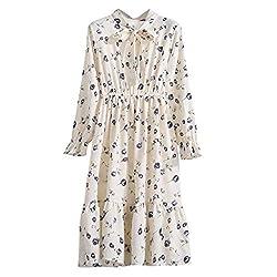 Rakkiss Women Floral Chiffon Long Sleeve Printing Casual Party Vintage Boho Maxi Dress Series 2 Beige