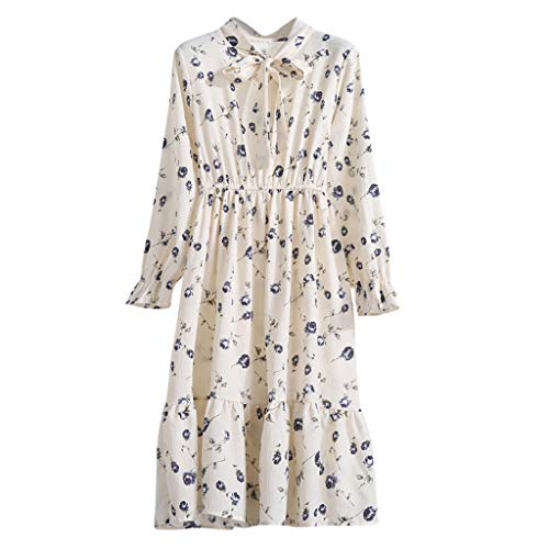 Rakkiss Women Floral Chiffon Long Sleeve Printing Casual Party Vintage Boho Maxi Dress Series 2 Beige