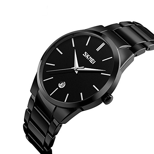 FunkyTop Men's Classic Black Stainless Steel Band Watch Quartz Auto Date Calendar Wristwatches (Black) Auto Calendar Watch