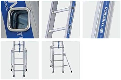 Tubesca - Escalera corredera con cuerda de aluminio (2 x 24 peldaños, 13,13 m máx.) - Platinio 500: Amazon.es: Bricolaje y herramientas