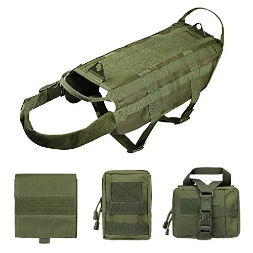 Petvins Tactical Dog Molle Vest Harness K9 Adjustable Outdoor Training Service Camouflage Harness with 3 Detachable Pouches Army Green Size L