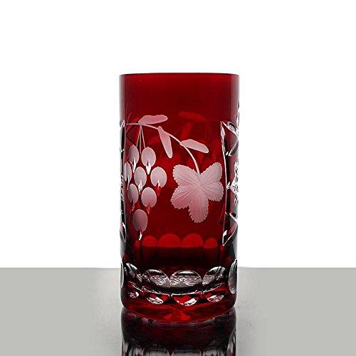 Longdrink, water glass ''Traube'' (340ml) red, modern style, glass (CRISTALICA KINGDOM powered by CRISTALICA)