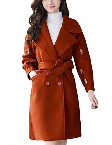 - MFrannie Women Notched Lapel Winter Jacket with Belt Double Breasted Trench Coat Caramel S