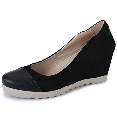 Alexis Leroy Donna Chiusura Punta Tonda Slip On Low Wedge Heel Pumps Black