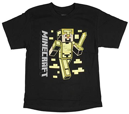 Mojang Minecraft Shirt Boys' Steve Gold Armor Foil Print Character T-Shirt (Small) ()