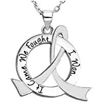 It Came. We Fought. I Won. Cancer Survivor Necklace With Stainless Steel Chain (11 Ribbon Colors Available)