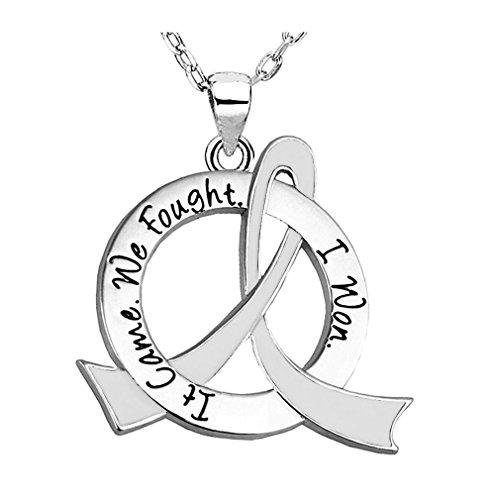 It Came. We Fought. I Won. Survivor Necklace Lung Cancer Mesothelioma Bone Disease (White Ribbon)]()