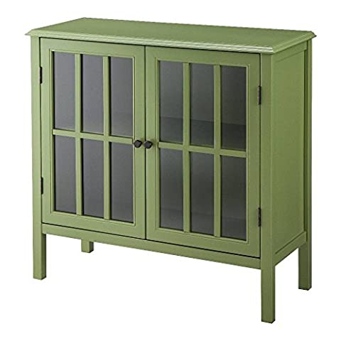Threshold Windham 2 Door Accent Cabinet (Green) - Mirrored Set China Cabinet