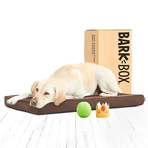 BarkBox Memory Foam Dog Bed | Plush Orthopedic Joint Relief Mattress Machine Washable + Removable Cover; Waterproof Lining, Includes Squeaker Toy | Large | Espresso (Large Dog Crate 2 In 1)