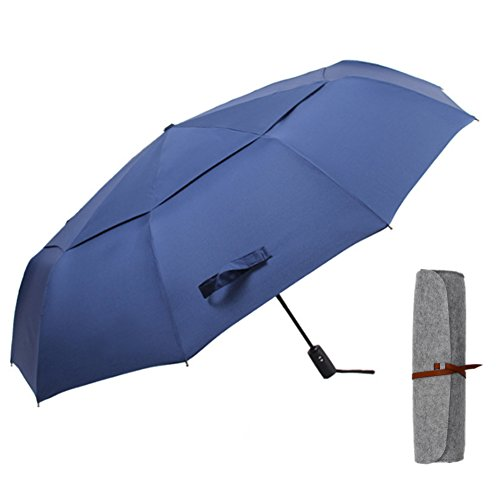 10 Ribs 45In Automatic Folding Umbrella with Double Canopy Rain & Wind Resistant Windproof Waterproof UV Protection Sturdy Portable Golf Umbrella for Men and Women(Blue) (Portable Rain Canopy)