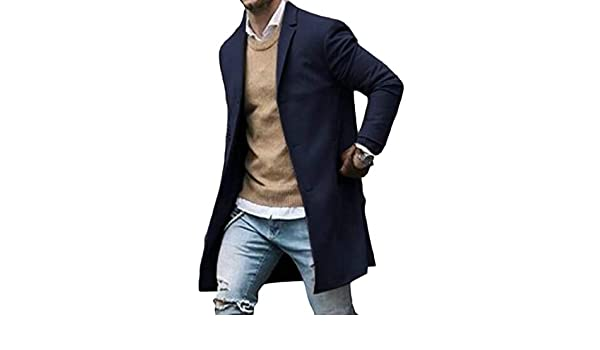 XQS Mens Woolen Thick Trench Coat Double Breasted Solid Jacket Pea Coat