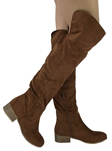 Fold Over Flat Boot - Nature Breeze Womens Arthur Over The Knee High Tall Riding Boots with Fold Down Cuff,Tan, 8.5