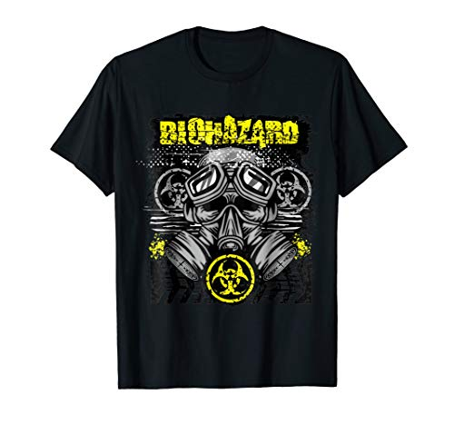 Yellow BioHazard Face Mask Funny Halloween T-Shirt -