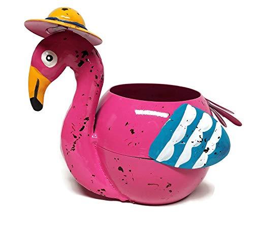 (Metal Flamingo Planter Flower Pot (Pink))