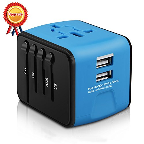 HaoZI Universal Travel Adapter, HAOZI All-in-one International Power Adapter with 2.4A Dual USB, European Adapter Travel Power Adapter Wall Charger for UK, EU, AU, Asia Covers 150+Countries (Blue)