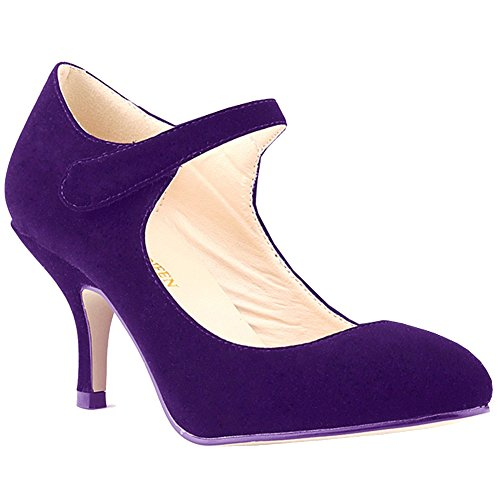 Loslandifen Ladies Mary Jane Mid Heels Casual Ankle Strap Faux Velve Work Pump - Women Pump Purple