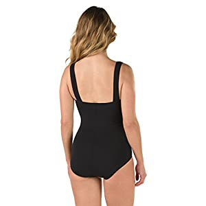 Speedo Women's Endurance+ Shirred Tank One Piece Swimsuit, Black, Size 8