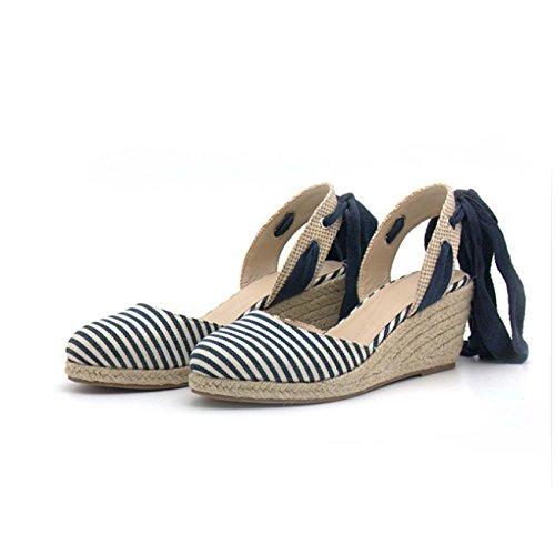 GONGFF Zapatos De Mujer Cuestan Zapatos De Paja De Cáñamo Cruz Sandalias De Mujer Casual Correa #1