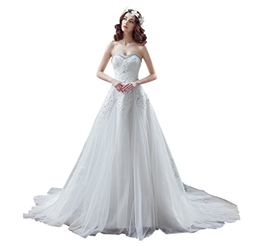 BoShi Women's Strapless Appliques Beaded Bride Gowns Wedding Dresses US 12 by Unknown
