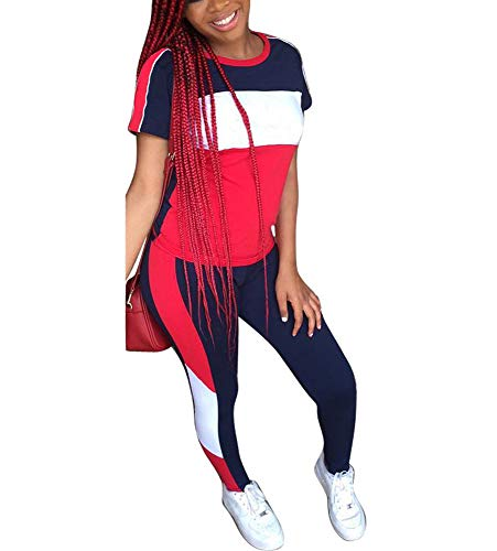 Womens 2 Piece Sports Outfits - Stripe Patchwork Tracksuit Short Sleeve Pullover Sweatshirt+ Long Pants Sweatsuits Set Navyblue