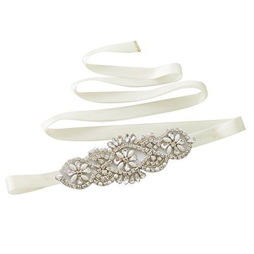 Cristaux De Femmes Ulapan Les Perles Écharpe De Ceinture De Robe De Mariée De Ceinture De Ceinture De Mariée, S76 Blanc Cassé