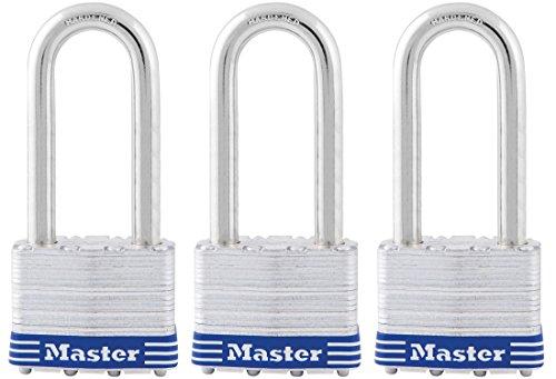 Shackle Laminated Steel Padlock - Master Lock 5TRILJ Steel Laminated Padlock with 2-1/2