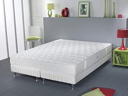 Simmons Barcelona colchón + somier + pie Blanco, Blanco, 160 x 200 cm (sommier 2x80)