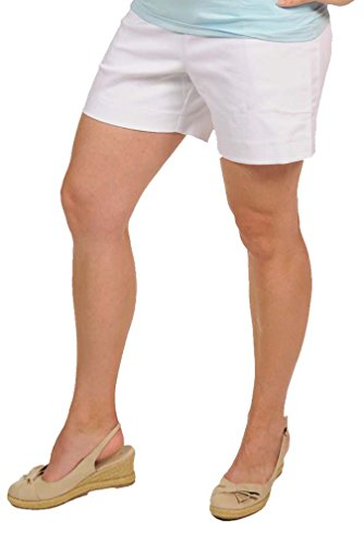 Japanese Weekend Denim Maternity Shorts - White - Small - Denim Maternity Shorts