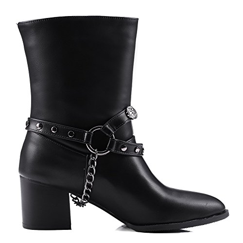 Solid Black Heels Women's AgooLar Pointed Toe PU Pull Kitten on Closed Boots 1n6nqgf