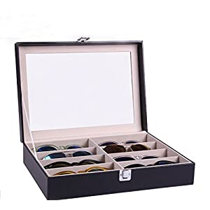 Siveit Augue 8 Slot Sunglass Organizer Leather Eyeglasses Collector Eyewear Display Case Storage Box