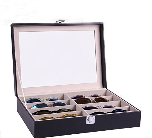 Siveit Augue 8 Slot Sunglass Organizer Leather Eyeglasses Collector Eyewear Display Case Storage Box