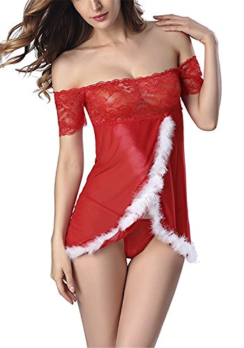 David Salc New Women Sexy Lace Satin Lingerie Sets Red Christmas Babydoll Chemise Teddy Dress Style -